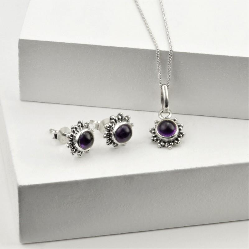 Amethyst Star Motif Jewellery set in 925 Sterling Silver