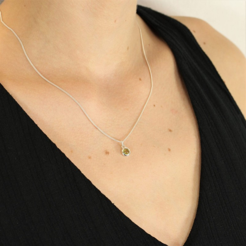 August Birthstone Necklace - Peridot Gemstone Charm in Sterling Silver 2