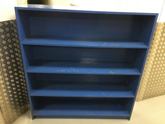 large solid heavy pine shelving unit