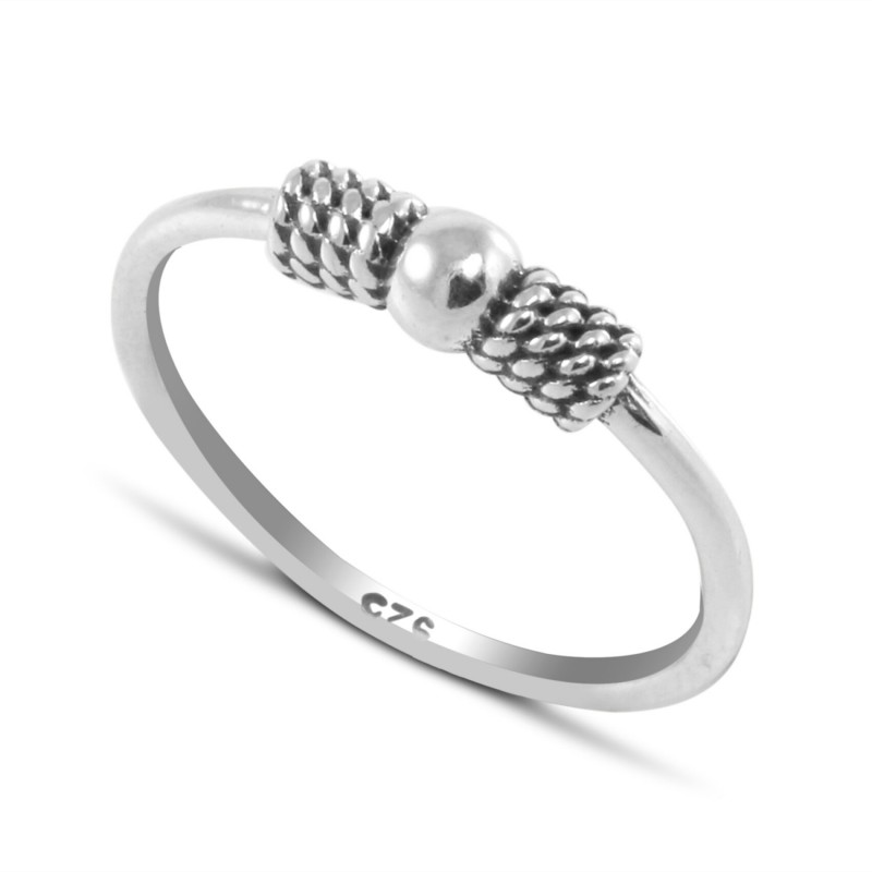 Bali Hoop Ring in Sterling Silver