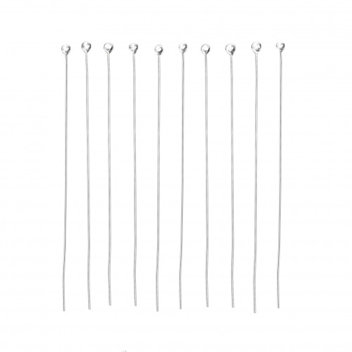 Ball-Head Pins in Sterling Silver - 50mm Long