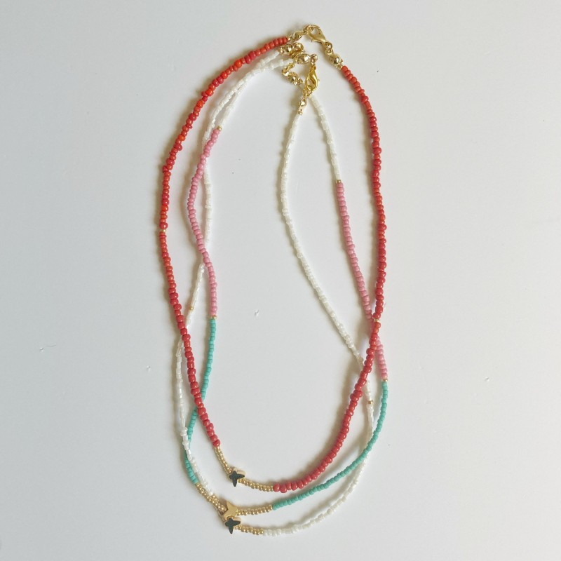 Beaded Necklace With Gold Plated Butterfly Charm 2