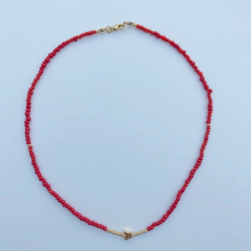 Beaded Necklace With Gold Plated Butterfly Charm 5