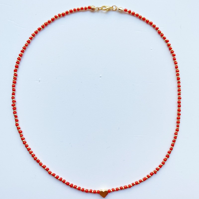 Beaded Necklace With Gold Plated Heart Charm 3