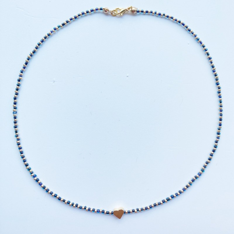 Beaded Necklace With Gold Plated Heart Charm 5