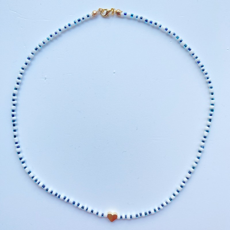 Beaded Necklace With Gold Plated Heart Charm 2