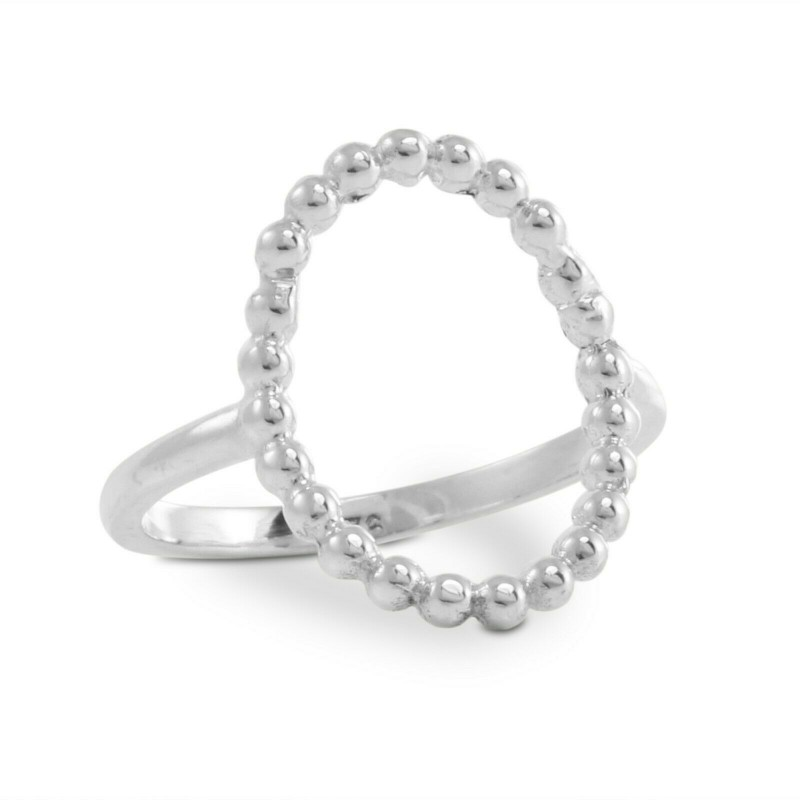 Beaded Oval Ring in Sterling Silver