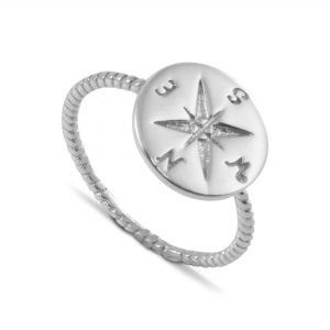 Beaded Shank Engraved Compass Life Navigation Ring in Sterling Silver