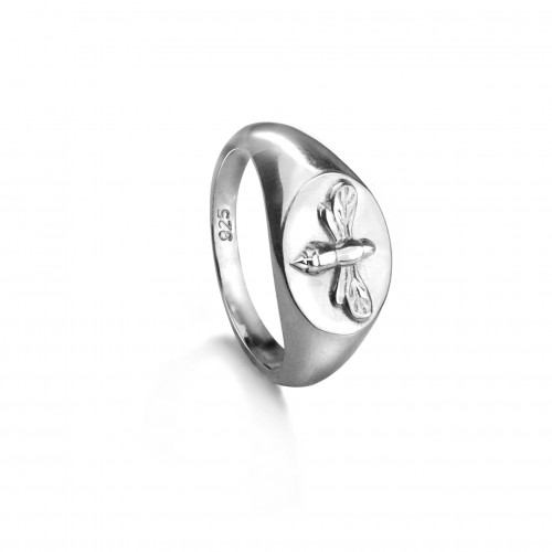 Bee Signet Ring in Sterling Silver