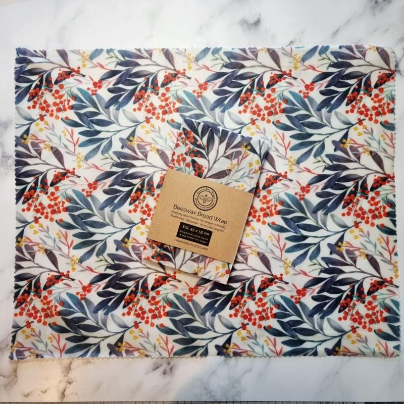 Beeswax Bread/Veg Wrap XXL - Indigo Leaf 2