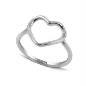 Big Open Heart Ring in Sterling Silver