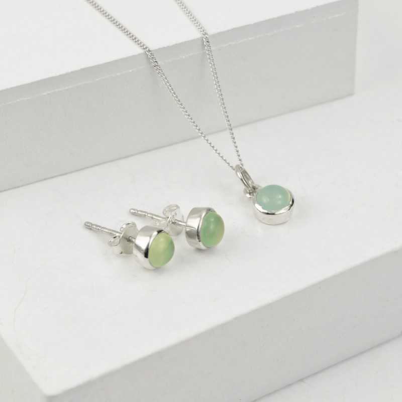 Birthday Jewellery Sets in Aqua Chalcedony- March- Studs and Charm Necklace