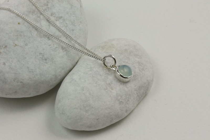 Birthday Jewellery Sets in Aqua Chalcedony- March- Studs and Charm Necklace 4