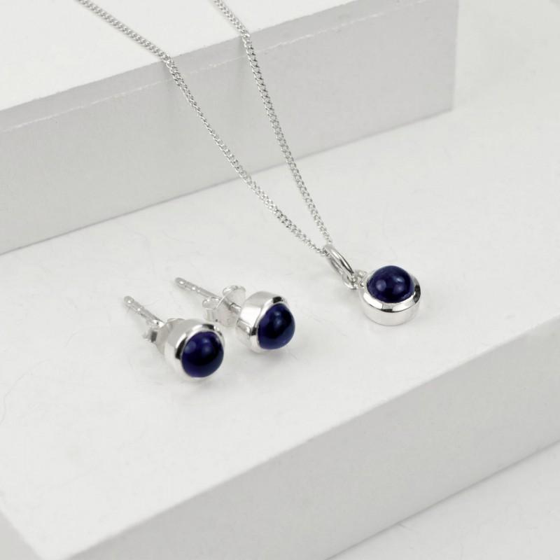 September Birthstone Jewellery Set - Blue Sapphire Studs and Pendant Necklace