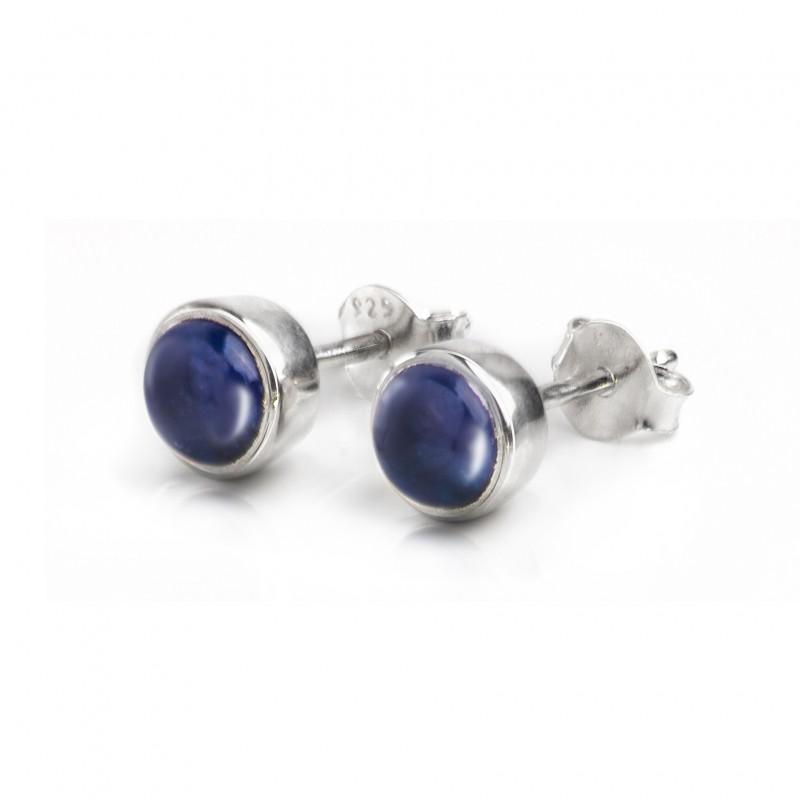 September Birthstone Jewellery Set - Blue Sapphire Studs and Pendant Necklace 4
