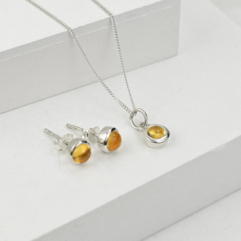 Birthday Jewellery Sets in Citrine- November- Studs and Pendant Necklace