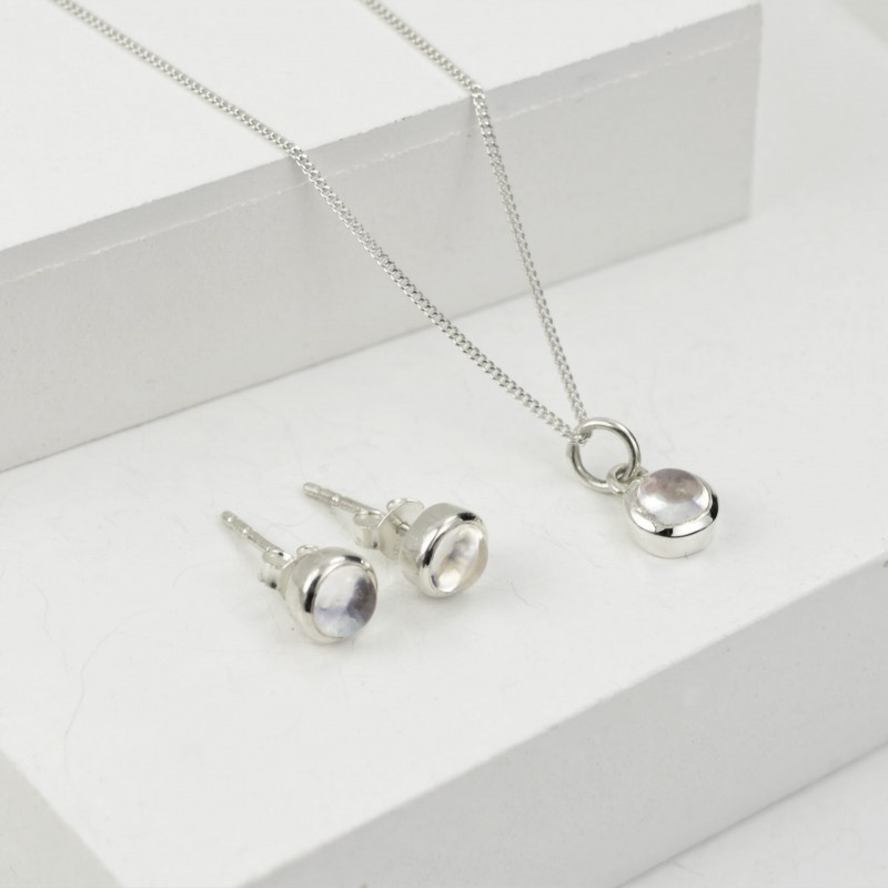 Birthday Jewellery Sets in Crystal- April- Studs and Charm Necklace