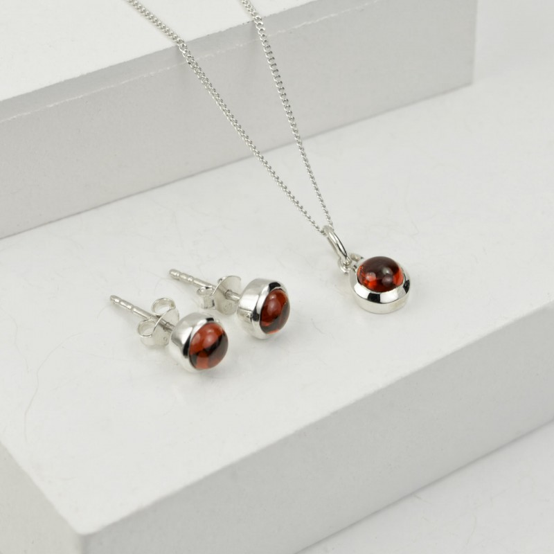 Birthday Jewellery Sets in Garnet- January- Studs and Charm Necklace
