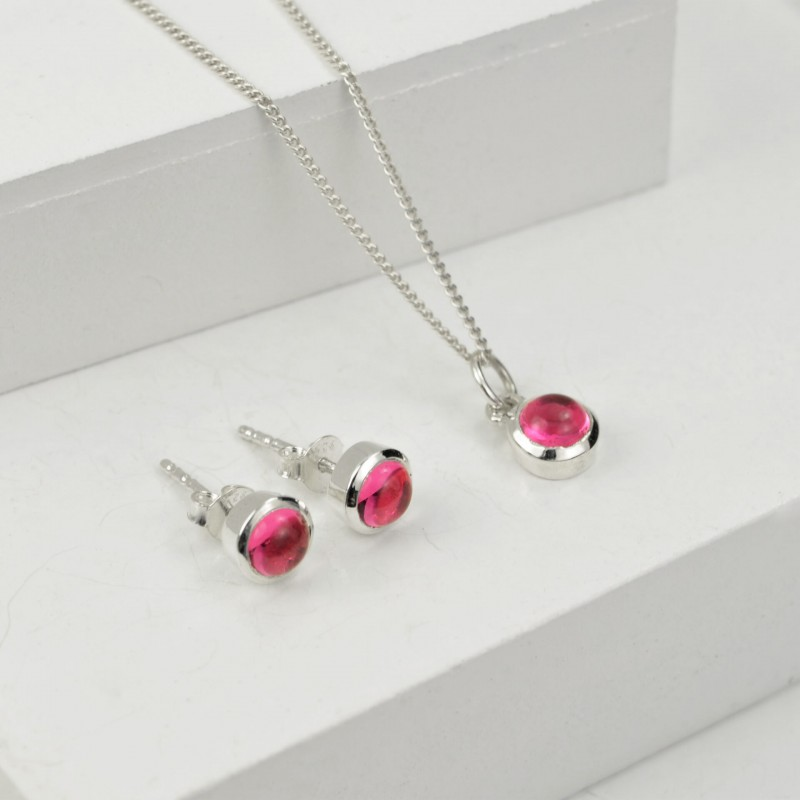 October Birthstone Jewellery Set with Pink Tourmaline – Studs and Pendant Necklace