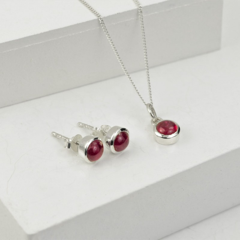 July Birthstone Jewellery Sets with Ruby Studs and Pendant Necklace