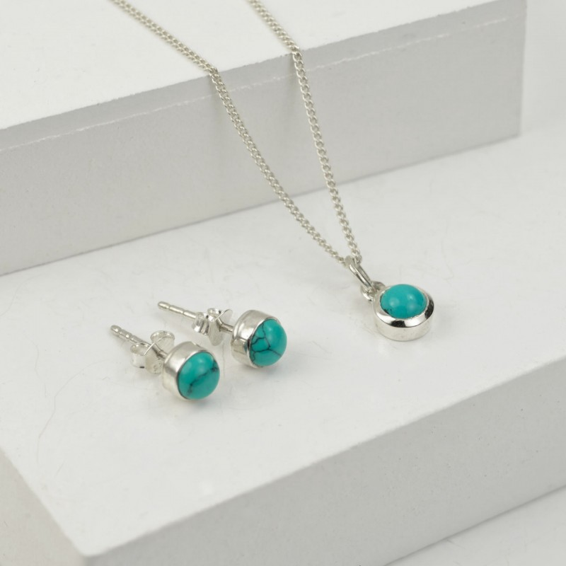 Birthday Jewellery Sets in Turquoise- December- Studs and Pendant Necklace