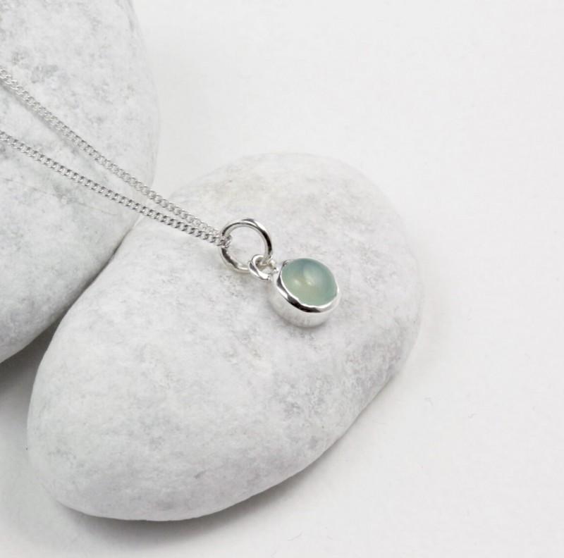 March Birthstone Necklace – Aqua Chalcedony Gemstone in Sterling Silver
