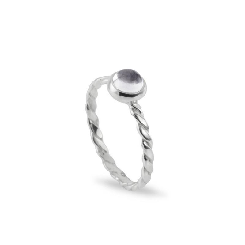 Birthstone Silver Ring – April– Crystal Gemstone