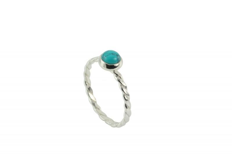 Birthstone Silver Ring – December– Turquoise Gemstone
