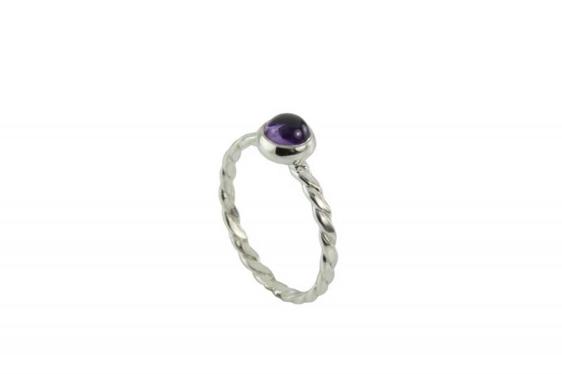 Birthstone Silver Ring – February– Amethyst Gemstone