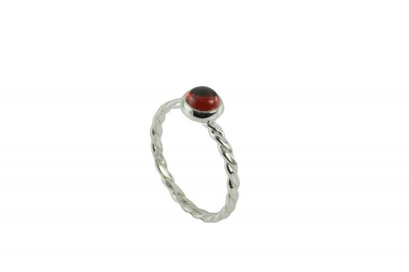 Birthstone Silver Ring - January - Garnet Gemstone
