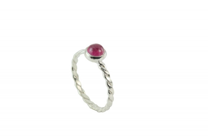 July Birthstone Ring with Genuine Ruby in Silver
