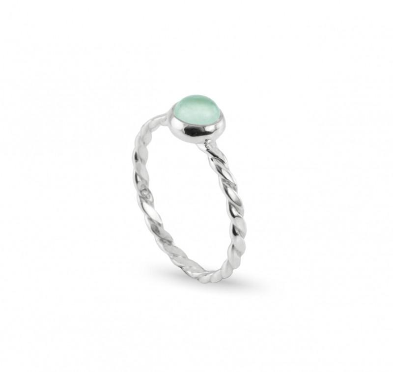Birthstone Silver Ring – March– Aqua Chalcedony Gemstone