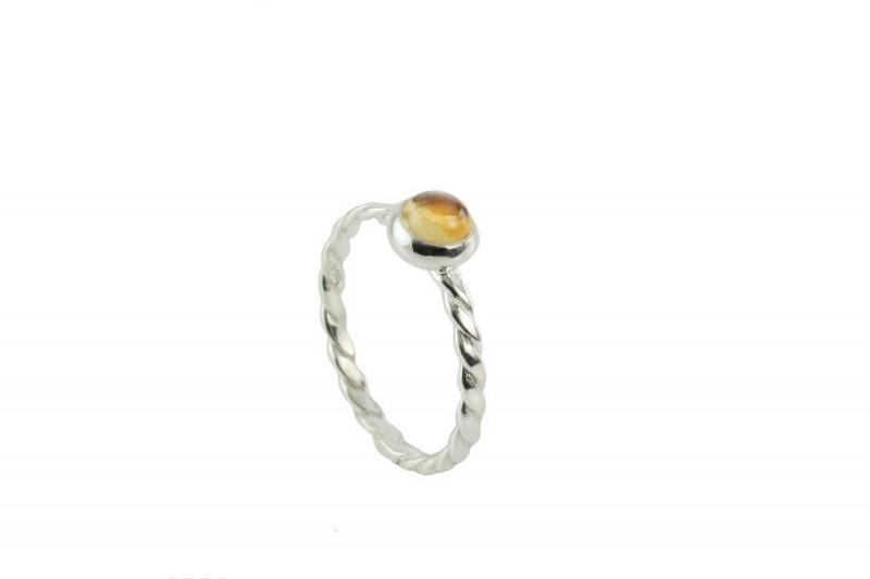 Birthstone Silver Ring – November– Citrine Gemstone