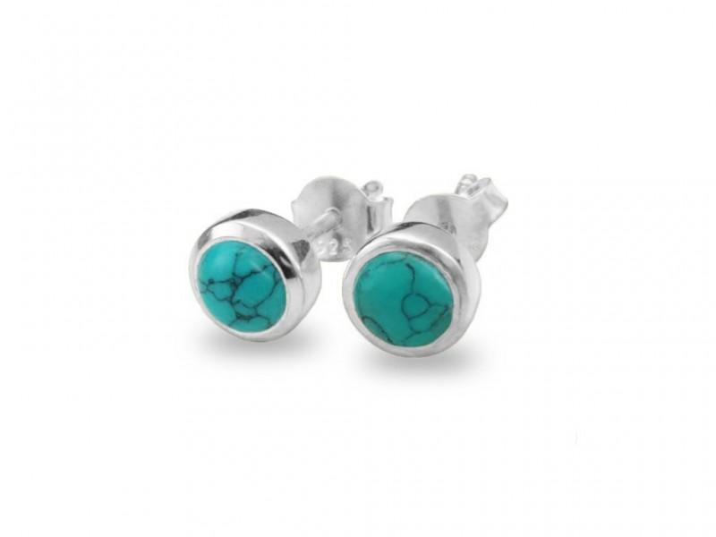 Birthstone Stud Earrings – December– 925 Sterling Silver Turquoise Gemstone