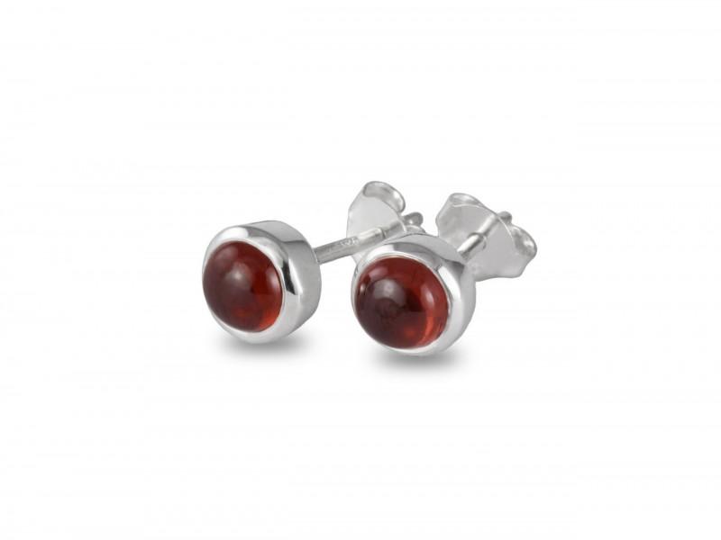 Birthstone Stud Earrings - January- 925 Sterling Silver Garnet Gemstone