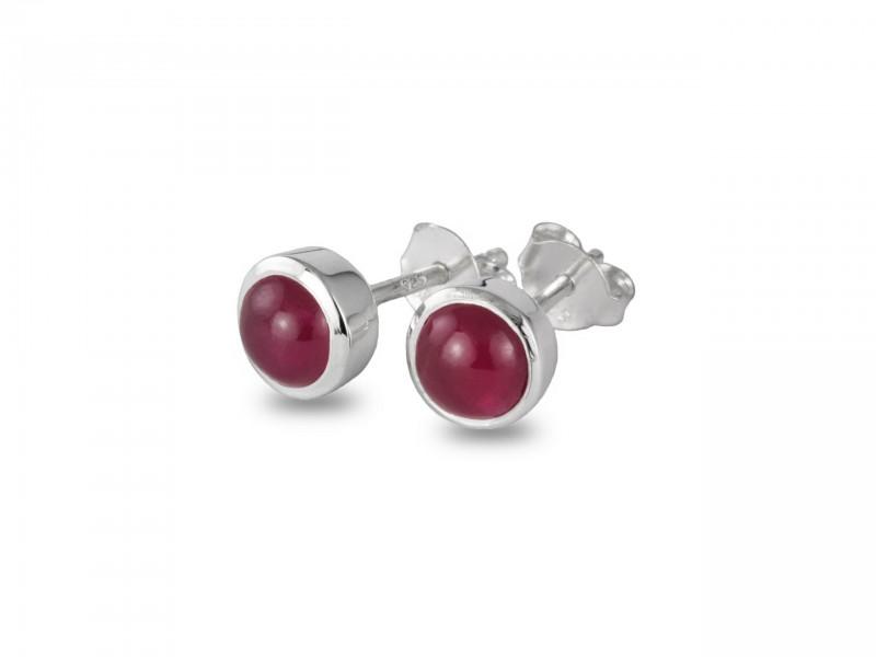July Birthstone Earrings - Ruby in Sterling Silver