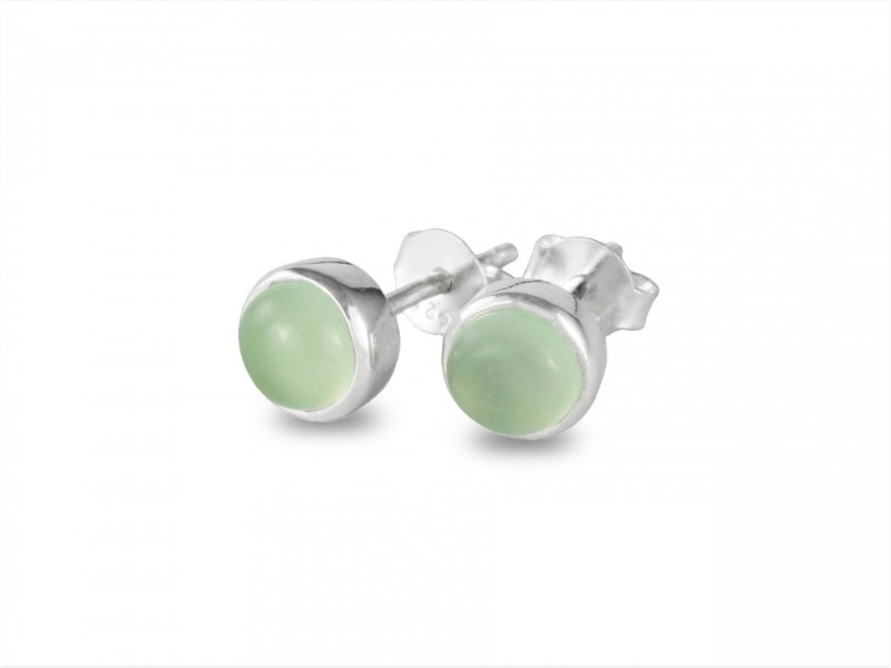 Birthstone Stud Earrings - March- 925 Sterling Silver Aqua Chalcedony Gemstone