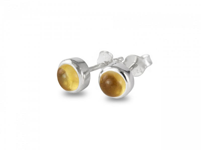 Birthstone Stud Earrings – November– 925 Sterling Silver Citrine Gemstone