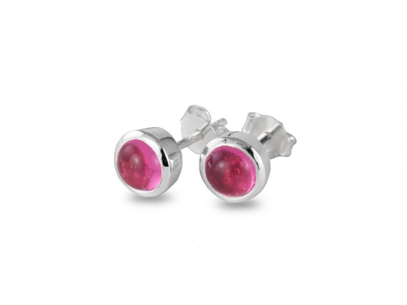 Birthstone Stud Earrings – October– 925 Sterling Silver Pink Tourmaline Gemstone