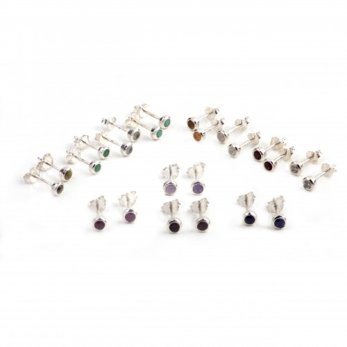Birthstone Tiny Stud Earring in Sterling Silver