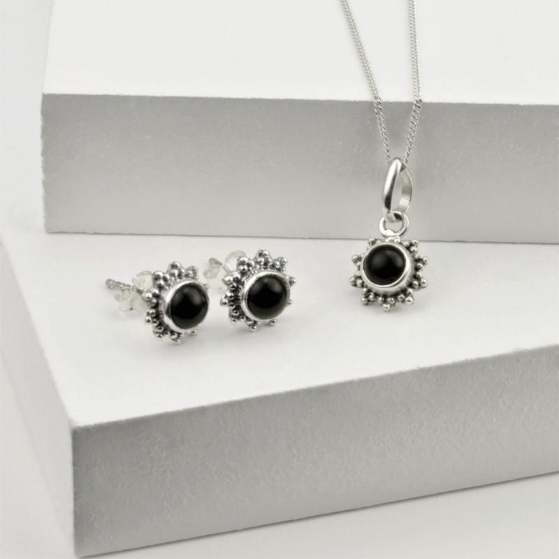 Black Onyx Star Motif Jewellery set in 925 Sterling Silver