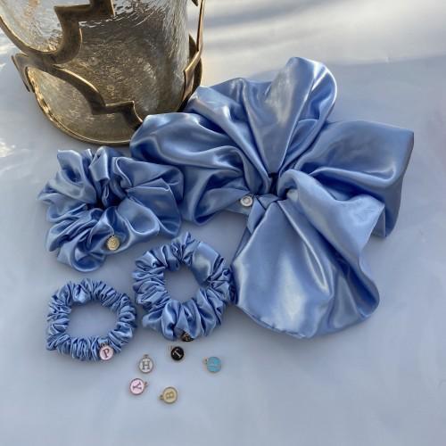 Blue Satin Hair Scrunchies