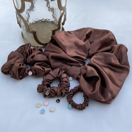 Brown Satin Hair Scrunchies