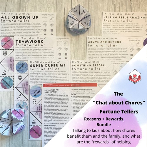 Chat about Chores Fortune Tellers - Reasons + Rewards Edition - Printable