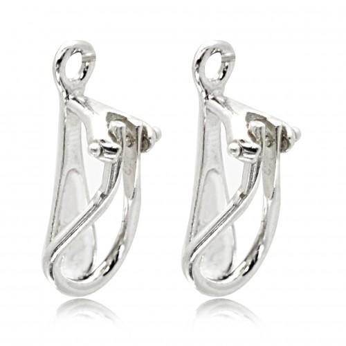 Clip-On Earring Findings for non-pierced ears in 925 Sterling Silver