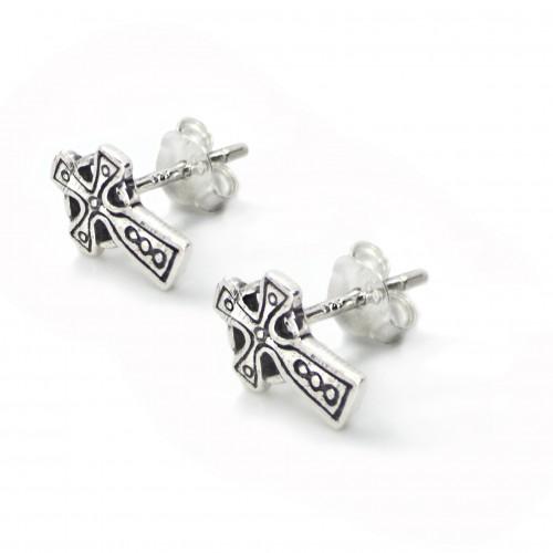 Cross Stud Earrings with Butterfly Fastening in Sterling Silver