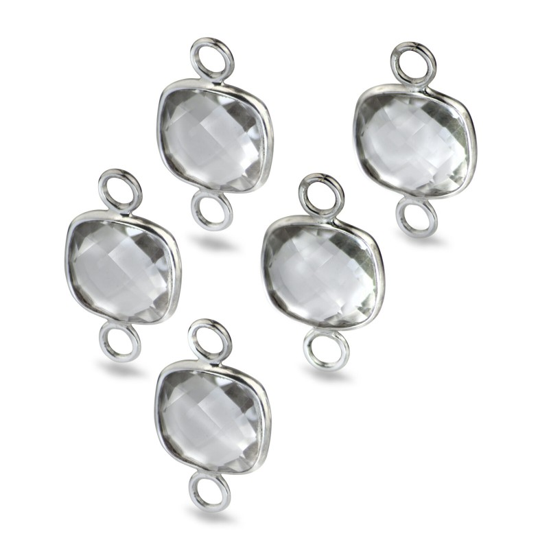 Cushion Shaped 10mm Faceted Crystal Connectors 1