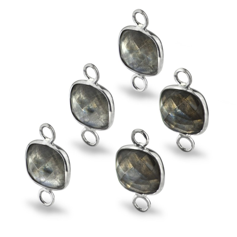 Cushion Shaped 10mm Faceted Labradorite Connectors 1