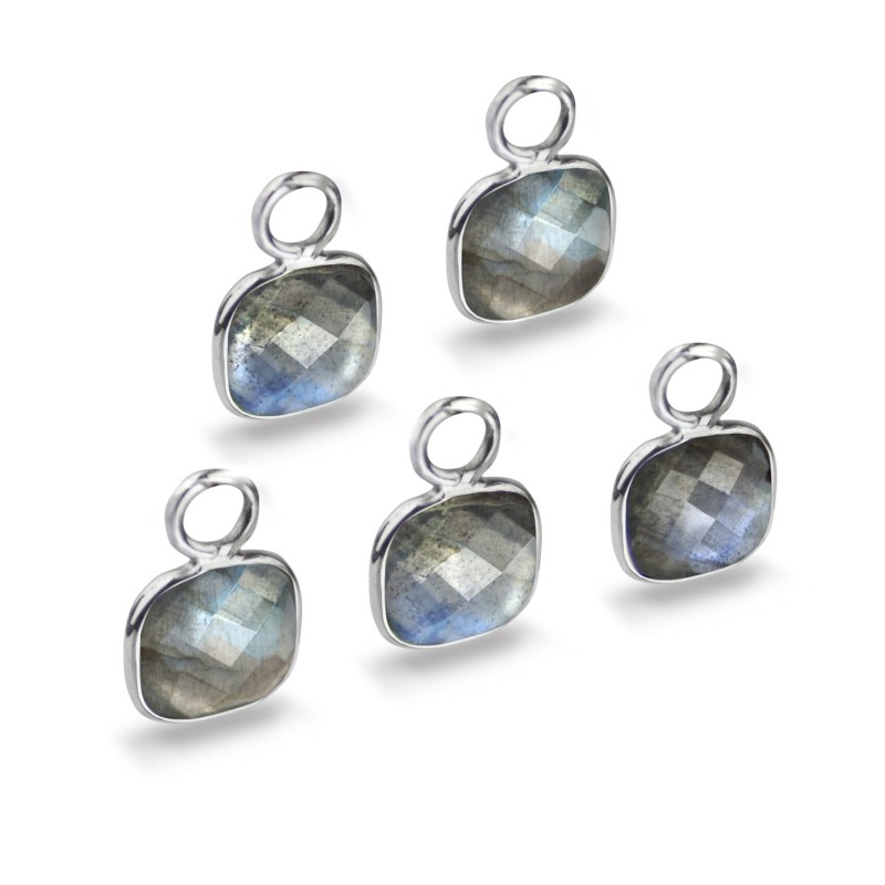 Cushion Shaped 7mm Faceted Labradorite Connectors 1