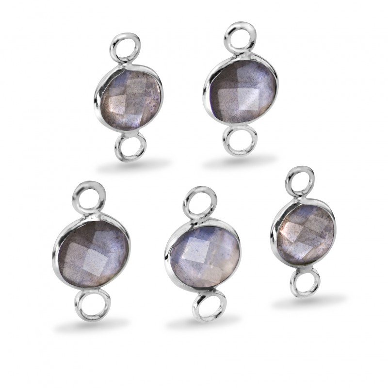Round Shaped 8mm Faceted Labradorite Connectors